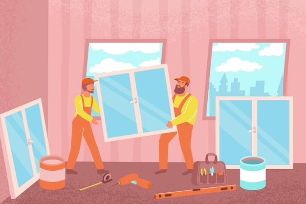 Installazione di una composizione piatta di finestre con vista interna del soggiorno con i lavoratori di finitura che tengono la finestra