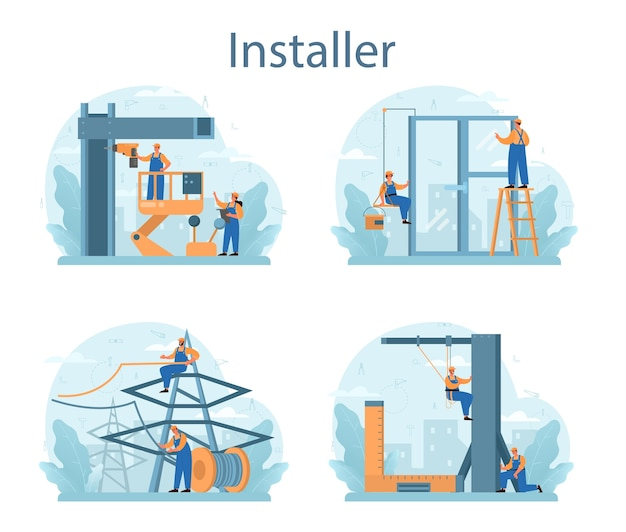 Set di concetti di installatore. operaio in uniforme che installa costruzioni.