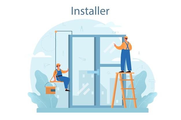Concetto di installazione. operaio in uniforme che installa costruzioni. servizio professionale, team di riparatori. servizio di costruzione, ristrutturazione casa.