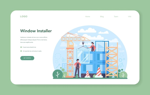 Banner web o pagina di destinazione del programma di installazione. operaio in uniforme che installa finestre