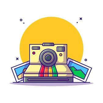 Fotocamera istantanea e cartone animato. concetto di fotografia.