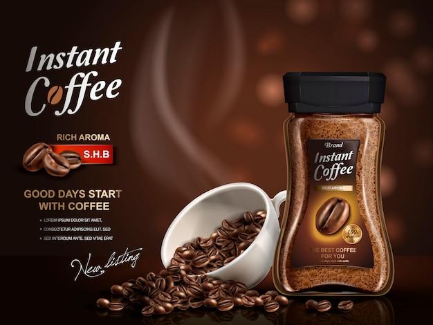 Annuncio di caffè istantaneo, con elementi di chicchi di caffè, sfondo bokeh