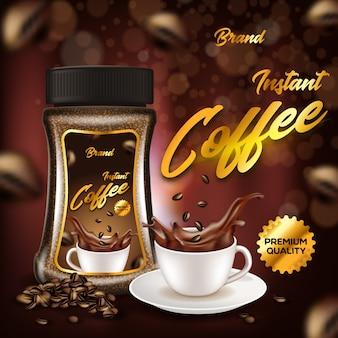 Banner pubblicitario di qualità premium per caffè istantaneo