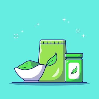 Matcha istantaneo o bustina di tè verde in polvere e confezione di bottiglie