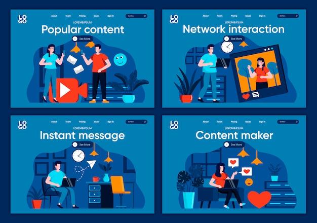 Set di pagine di destinazione piane per la messaggistica istantanea. persone che condividono contenuti, streaming online e scene di blog per siti web o pagine web cms. creazione di contenuti popolari e illustrazione di interazione di rete