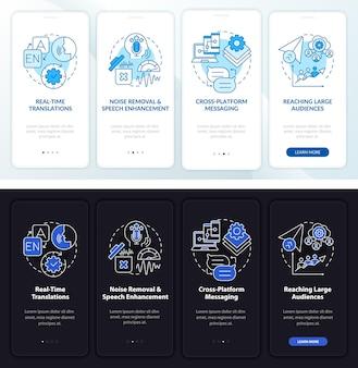 Schermata della pagina dell'app mobile di onboarding della messaggistica istantanea. procedura dettagliata di chat online 4 passaggi di istruzioni grafiche con concetti. modello vettoriale ui, ux, gui con illustrazioni lineari in modalità giorno e notte