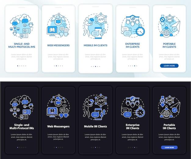 Schermata della pagina dell'app mobile onboarding del servizio di messaggistica istantanea