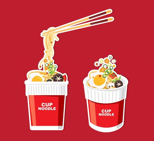 Noodle istantanei in tazza, imballaggio, illustrazione
