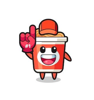 Fumetto di illustrazione di noodle istantaneo con guanto per fan numero 1, design in stile carino per t-shirt, adesivo, elemento logo