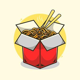 Illustrazione di spaghetti istantanei.