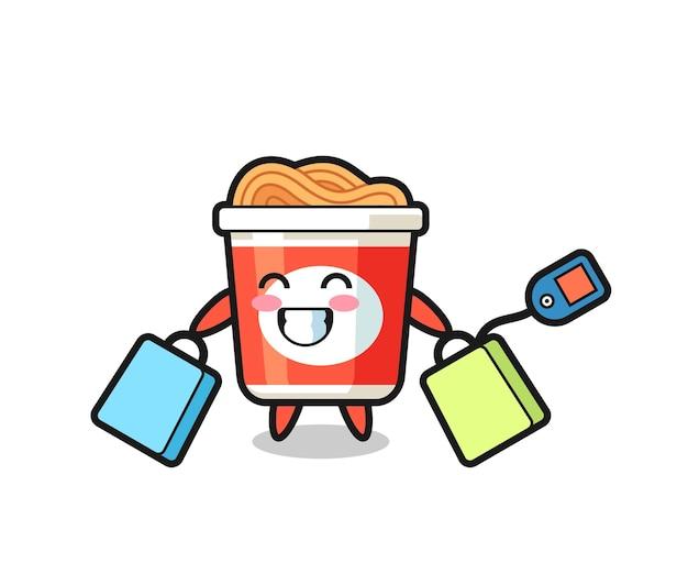 Cartone animato mascotte di noodle istantaneo con in mano una borsa della spesa, design in stile carino per maglietta, adesivo, elemento logo