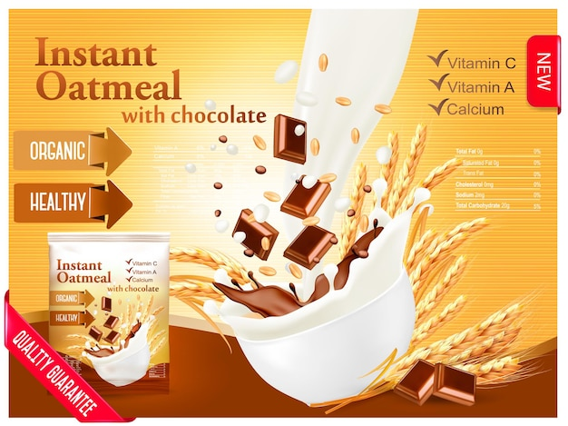 Concetto di annuncio porridge istantaneo. latte che scorre in una ciotola con grano e cioccolato. vettore.