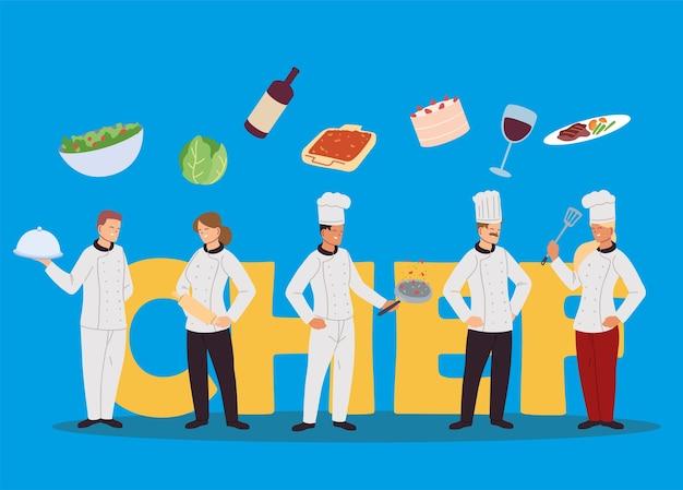 Istituzione di chef per il design dell'illustrazione del ristorante