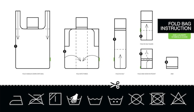 Istruzioni come piegare passo dopo passo la borsa ecologica