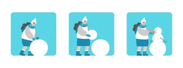 Istruzioni per scolpire il pupazzo di neve. la donna del fumetto sta rotolando le palle passo dopo passo