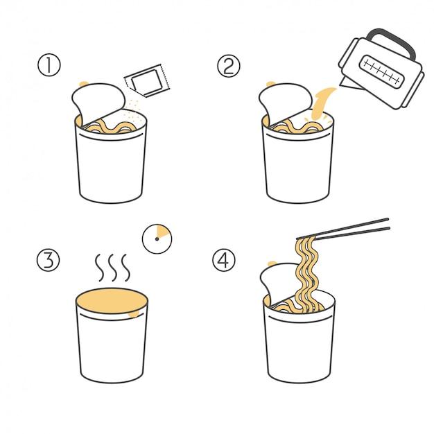 Istruzioni per la preparazione del cibo. passaggi su come cucinare i noodles istantanei.