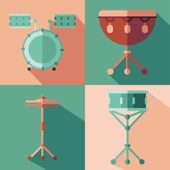 Design del gruppo di icone di strumenti, melodia del suono musicale e illustrazione del tema della canzone