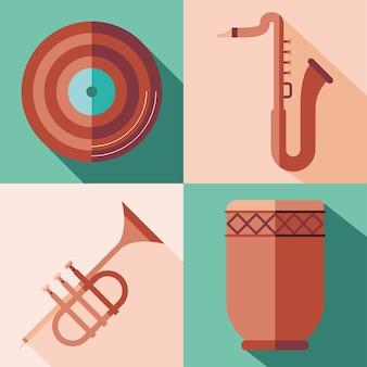 Set di icone di strumenti, melodia del suono musicale e illustrazione del tema della canzone