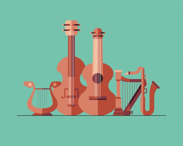 Design del pacchetto di simboli di strumenti, melodia del suono musicale e illustrazione del tema del brano