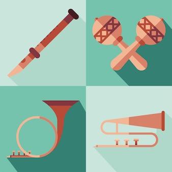 Progettazione della raccolta di simboli degli strumenti, melodia del suono di musica e illustrazione del tema della canzone