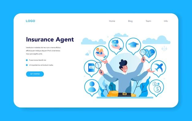 Concetto di pagina di destinazione dell'agente di assicurazione