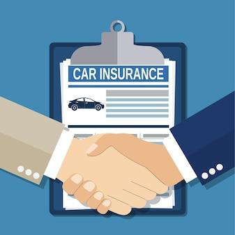 Stretta di mano di concetto di assicurazione. sicurezza, assicurazione, concetto di rischio.