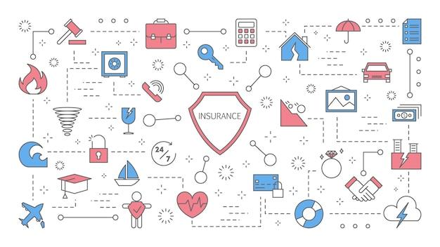 Concetto di assicurazione. tutela della salute, della vita e delle finanze. ottieni soldi dopo l'incidente. affari in sicurezza. set di icone colorate di linea. illustrazione