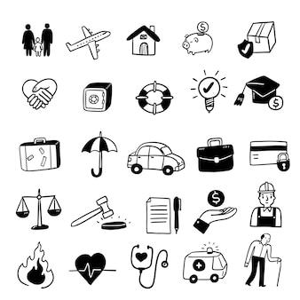 Set di icone di concetto di assicurazione, stile di doodle dell'illustrazione di vettore di tiraggio della mano