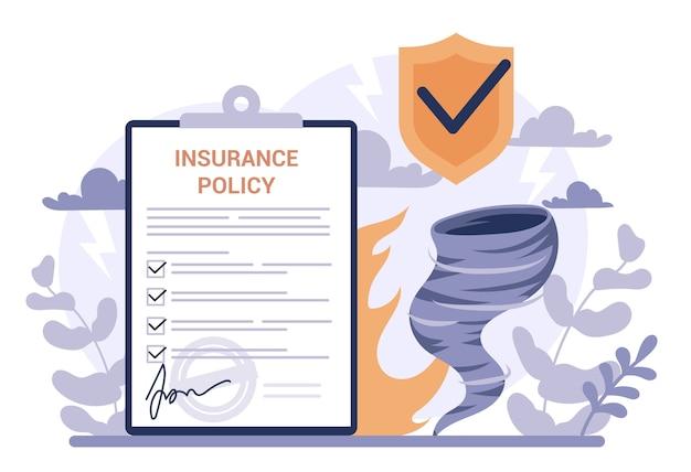 Concetto di assicurazione. idea di sicurezza e protezione della proprietà e della vita dai danni. sicurezza dai disastri naturali.