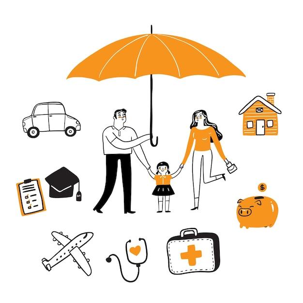 Insieme di concetto di assicurazione, stile di doodle dell'illustrazione di vettore di tiraggio della mano