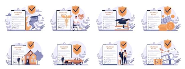 Insieme del concetto di assicurazione. idea di sicurezza e protezione della proprietà e della vita dai danni. sicurezza in viaggio e lavoro.