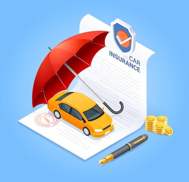 Documento di contratto di assicurazione con moneta denaro penna e ombrello rosso