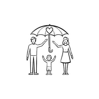 Assicurazione dei membri della famiglia icona di doodle di contorni disegnati a mano. ombrello sopra l'illustrazione di schizzo di vettore della famiglia per la stampa, il web, il mobile e l'infografica isolati su priorità bassa bianca.