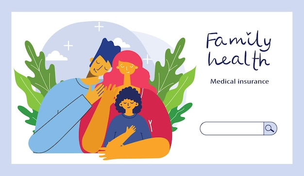 Banner orizzontale di assicurazione con simboli di protezione della salute della famiglia e della proprietà