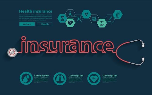 Progettazione di stetoscopio di concetto di idee di assicurazione