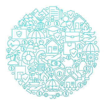 Disegno del cerchio dell'icona della linea di assicurazione. illustrazione vettoriale di oggetti aziendali.