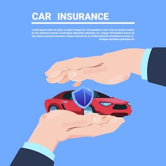 Fumetto protettivo dell'automobile di gesto della mano di servizio assicurativo sull'illustrazione piana di vettore dello spazio della copia del fondo blu
