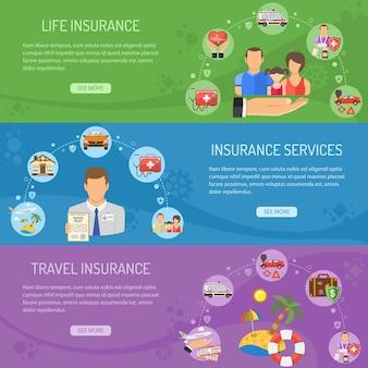 Banner orizzontale di servizi assicurativi con icone piane assicuratore, assicurazione sulla vita e sui viaggi. illustrazione vettoriale