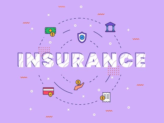 Arte di parola di calligrafia di tipografia di assicurazione con stile di colore pieno Vettore Premium