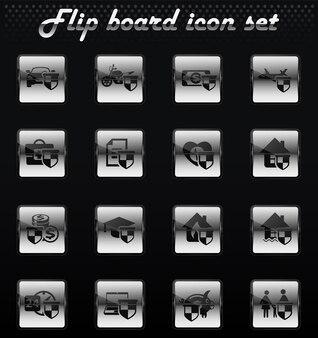 Icone meccaniche flip vettore assicurativo per la progettazione dell'interfaccia utente