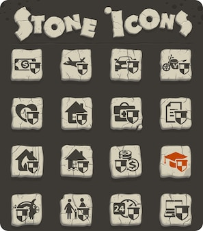 Icone vettoriali di assicurazione per il web e la progettazione dell'interfaccia utente