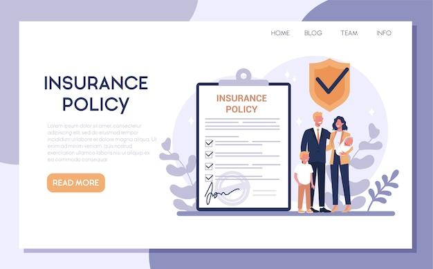 Banner web di assicurazione. idea di sicurezza e protezione della proprietà e della vita dai danni. sicurezza familiare.
