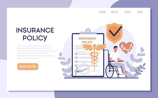 Banner web assicurativo o pagina di destinazione. idea di sicurezza e tutela della vita e della salute. assistenza sanitaria e servizio medico.