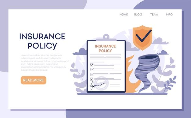 Banner web assicurativo o pagina di destinazione. idea di sicurezza e protezione della proprietà e della vita dai danni. sicurezza dai disastri naturali.