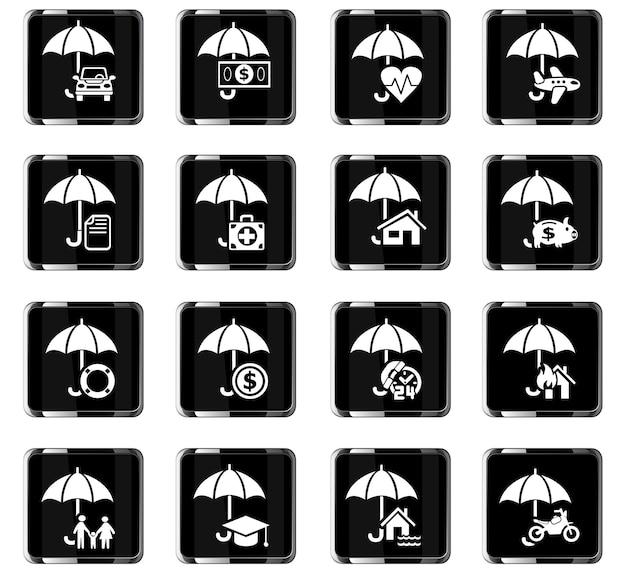 Icone web assicurative per il design dell'interfaccia utente