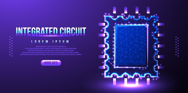 Circuito integrato low poly wireframe