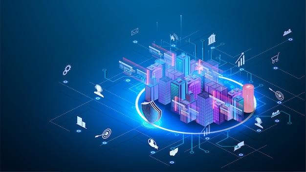 Intelligente concetto di business del sistema di automazione degli edifici. l'edificio è composto da cifre e collegato con icone di dispositivi intelligenti domestici. città intelligente.