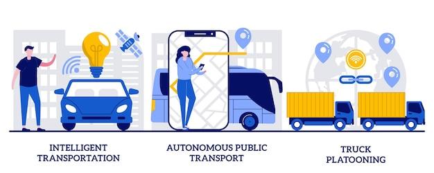 Sistema di trasporto intelligente, trasporto pubblico autonomo, concetto di plotone di camion con persone minuscole. insieme dell'illustrazione di vettore di logistica moderna. gestione intelligente del traffico, metafora iot.