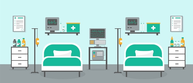 Sala per terapia intensiva con due letti e attrezzatura medica. interno della stanza dell'ospedale o della clinica.