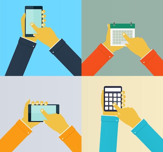 Mani di interazione che utilizzano app mobili.